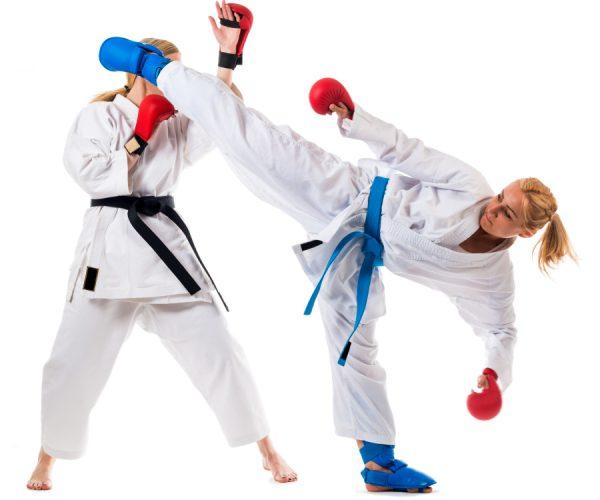 Conectando una patada de Gancho en Karate