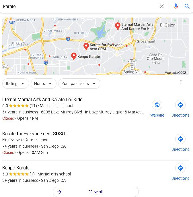 busqueda de Karate en Google mi negocio